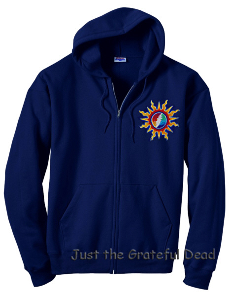 Grateful Dead - Sunshine Lightning Dark Blue Zip-Up Hoodie