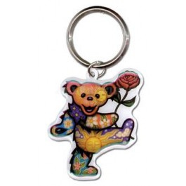 Grateful Dead - Dancing Bear with Flower Metal Keychain