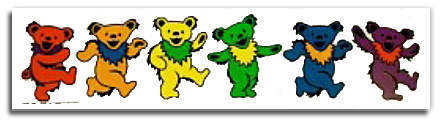 Grateful Dead - Row of Rainbow Dancing Bears Sticker