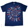 Grateful Dead - Spiral Skeletons Red White and Blue T Shirt